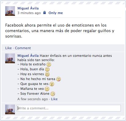 Emoticones en los comentarios de Facebook